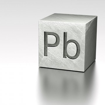 Lead cube with Pb Plumbum mark, rendered model at metal plane—ESME.com