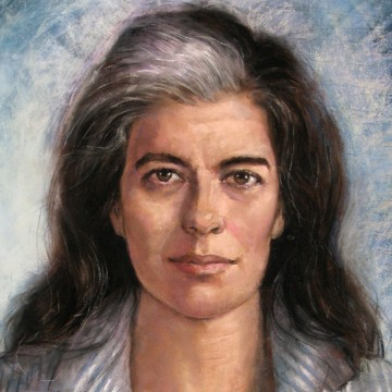"Pastel portrait of Susan Sontag commissioned by the ""Gay & Lesbian Review"" for the 2009 May–June cover—ESME.com"
