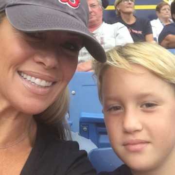 """Boss in Heels"" Heather Monahan and her son at a Red Sox game—ESME.com"