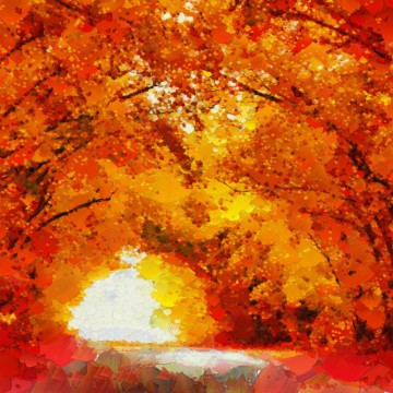 Orange autumn landscape painting—ESME.com