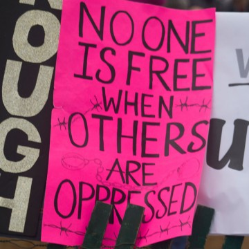 A poster from the Women's March on Washington January 21, 2017, photo by Annie Kronenberg