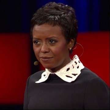 "Screen shot of Mellody Hobson in the TED Talk ""Color blind or color brave?"""
