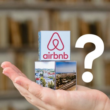 Airbnb logo with a question mark next to it—ESME.com