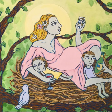 Illustration of a mom sitting in a nest with her children holding a phone—ESME.com
