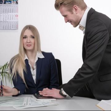 Unpleasent coworker harrasses woman at her desk—ESME.com