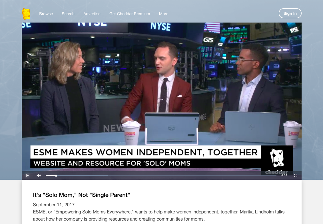 Marika Lindholm appears on Cheddar at the New York Stock exchange-ESME.com