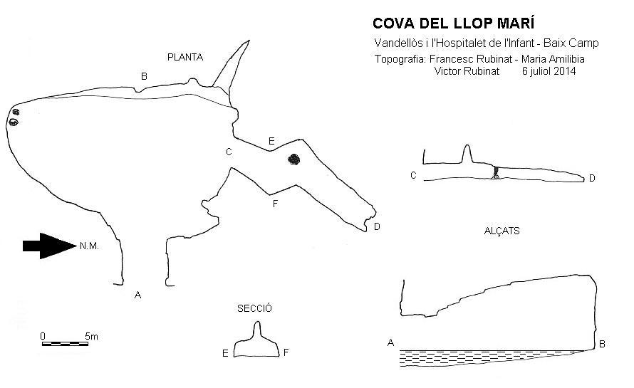 topo Cova del Llop Marí