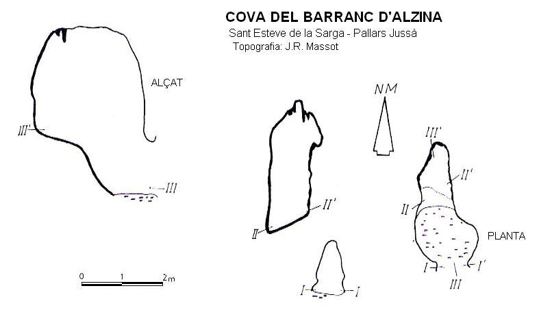 topo Cova del Barranc d'alzina