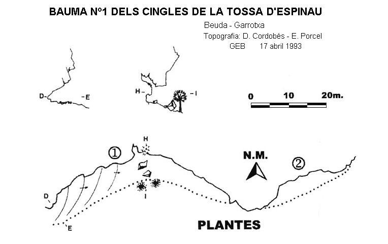 topo Bauma Nº1 dels Cingles de la Tossa d'espinau
