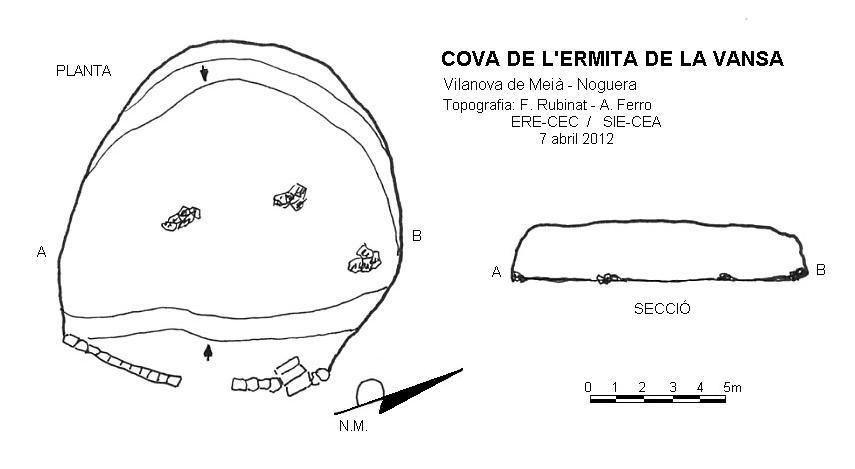 topo Cova de l'Ermita de la Vansa