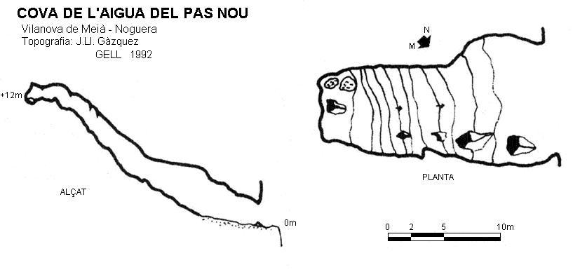 topo Cova de l'Aigua del Pas Nou
