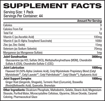 Universal Nutrition Animal Flex Supplement Facts