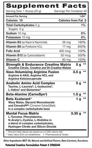 Dymatize Nutrition Xpand Xtreme Pump SuppFacts