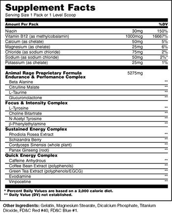 Universal Nutrition Animal Rage Supplement Facts