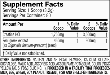 MuscleTech Concentrated Series Creacore Supplement Facts