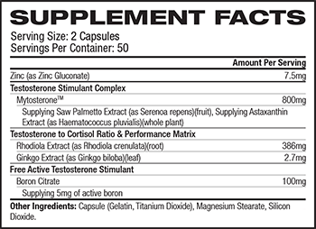 MuscleTech Concentrated Series AlphaTest Supplement Facts