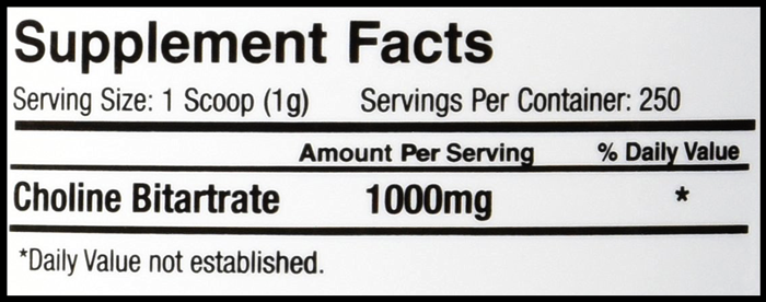PrimaForce Choline Bitartrate Supplement Facts