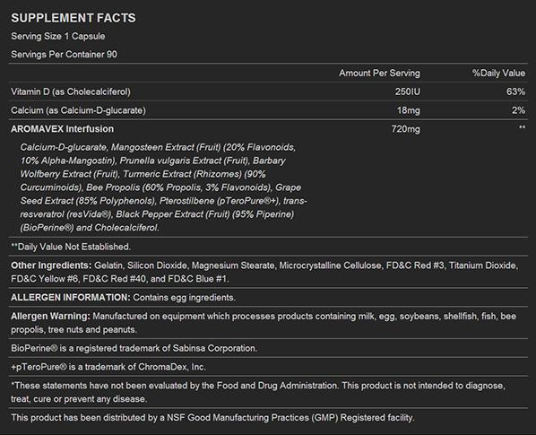 BSN Aromavex Supplement Facts