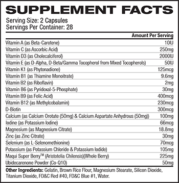 iForce Nutrition Athletic Multi Supplement Facts