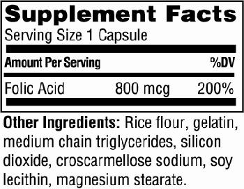 Twinlab Folic Acid Caps Supplement Facts