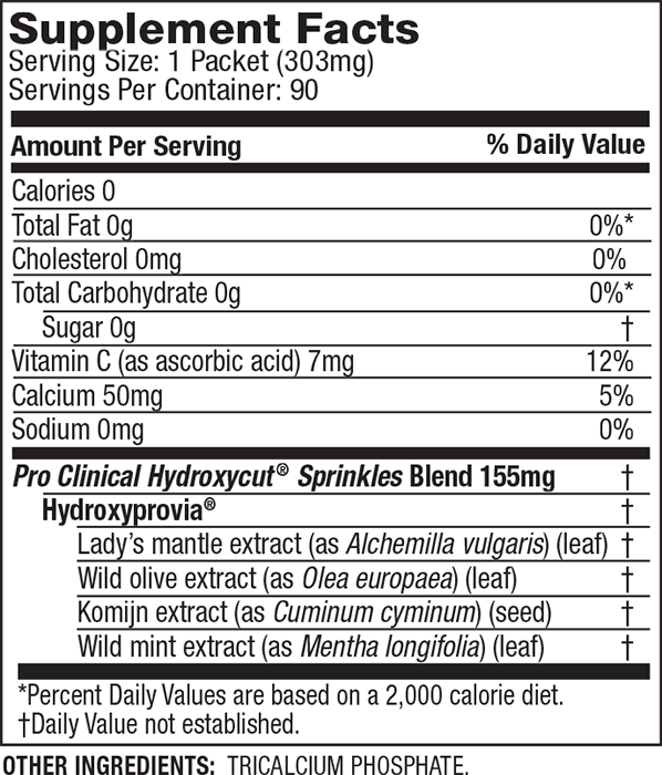 HYDROXYCUT SPRINKLES SuppFacts