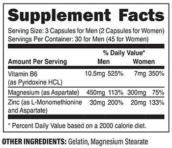 XPI Xtreme ZMA Supplement Facts
