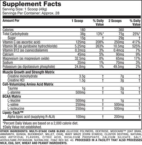 MuscleTech Performance Series Cell-Tech Supplement Facts