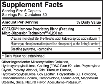 MuscleTech Creakic Hardcore Supplement Facts
