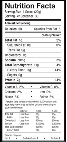 BarnDad Innovative Nutrition Fiber DX Supplement Facts
