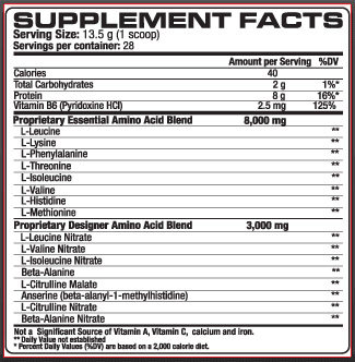 VPX Power Shock Supplement Facts