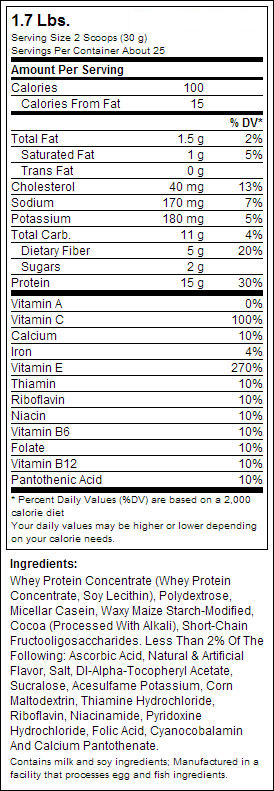 LEAN 15 PROTEIN POWDER SuppFacts