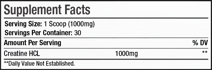 CREATINE HCL SuppFacts