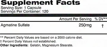 AI Sports Nutrition Agmatine Supplement Facts