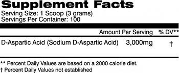 AI Sports Nutrition D-Aspartic Acid Powder Supplement Facts