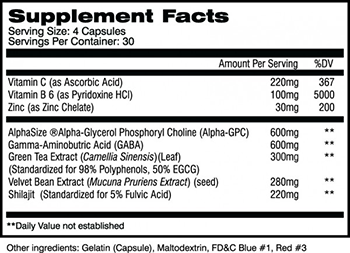 AI Sports Nutrition HGHpro Supplement Facts