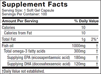 MuscleTech Essential Series Platinum 100% Fish Oil Supplement Facts