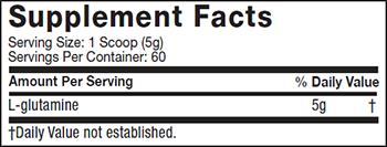 MuscleTech Platinum 100% Glutamine Supplement Facts