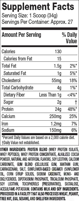 MuscleTech Platinum 100% Whey Supplement Facts