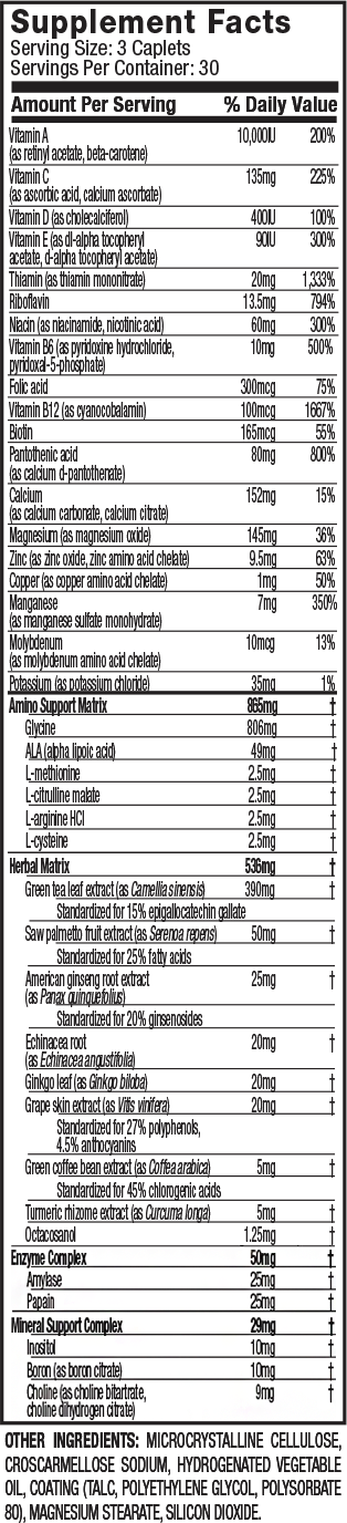 MuscleTech Platinum MultiVitamin Supplement Facts