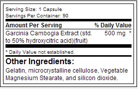 Essentials Garcinia Cambogia SuppFacts