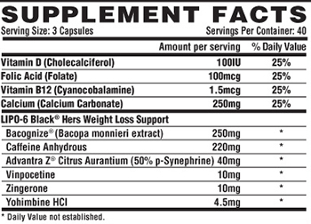 Nutrex Research Lipo-6 Black Hers Ultra Concentrate Supplement Facts