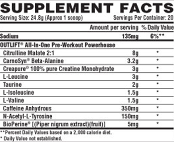 Nutrex Research Outlift Supplement Facts