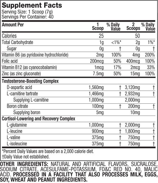 MuscleTech Performance Series Anotest Supplement Facts