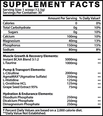 Muscle Elements AmiNo Flow Supplement Facts