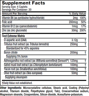 MuscleTech TEST 3X SX-7 Supplement Facts