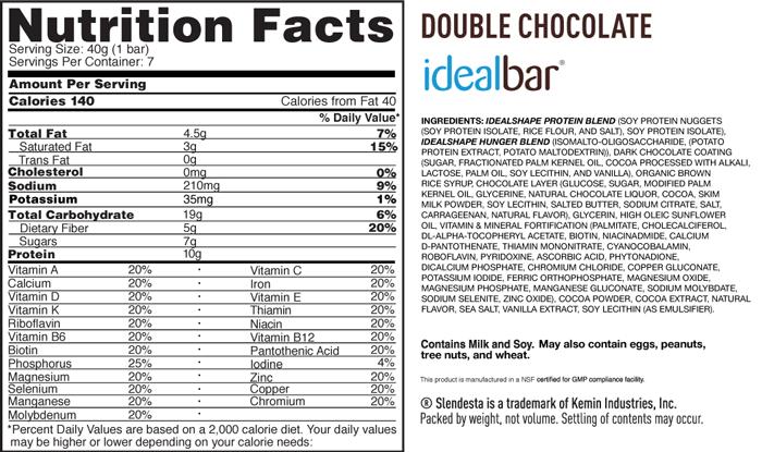 IdealShape IdealBar Supplement Facts