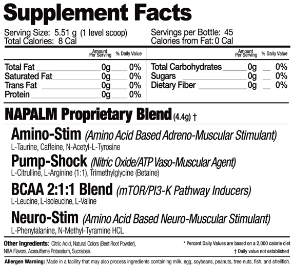 Muscle Warfare NAPALM Supplement Facts