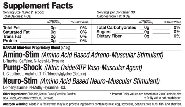 Muscle Warfare NAPALM Mini-Gun Supplement Facts