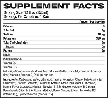 MusclePharm Hybrid Series Energy Sport Zero Supplement Facts