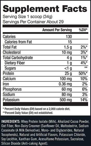 CytoSport Monster Isolate Supplement Facts
